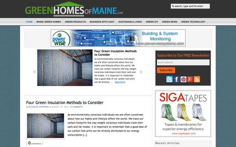 Screenshot of Home Page greenhomesofmaine.com - Green Homes of Maine   The Source for Sustainable Living in Maine - captured Sept. 30, 2014