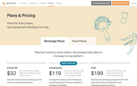 Screenshot of Pricing Page bevspot.com - Pricing — How Much Does BevSpot Cost? | BevSpot - captured Feb. 14, 2019