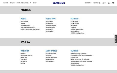 Screenshot of Site Map Page samsung.com - Sitemap | Samsung Australia - captured Oct. 2, 2018