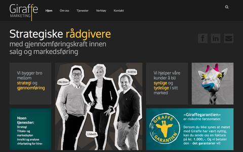 Screenshot of Home Page giraffe.no - Giraffe Marketing | Rådgivere med gjennomføringskraft! - captured Jan. 28, 2016
