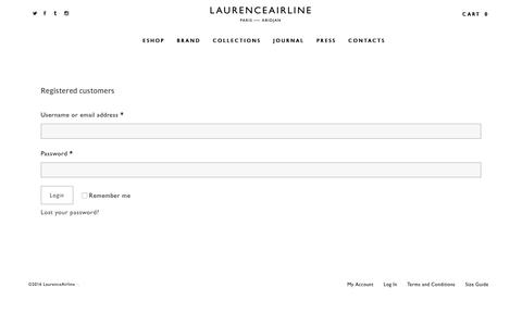 Screenshot of Signup Page Login Page laurenceairline.com - Mon Compte | Laurence Airline - captured July 9, 2016
