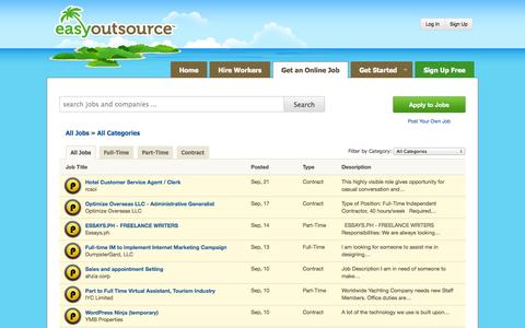 Screenshot of Jobs Page easyoutsource.com - Filipinos - Get an Online Job from an Offshore Company | EasyOutsource - captured Sept. 18, 2014