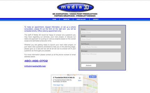 Screenshot of Contact Page media3d.net - CONTACT - captured June 10, 2017