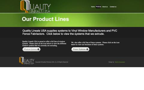 Screenshot of Products Page qualitylinealsusa.com - contact - captured Jan. 29, 2016