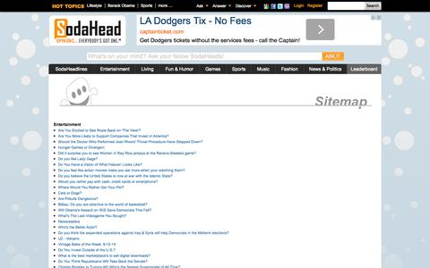 Screenshot of Site Map Page sodahead.com - SodaHead's Official SiteMap - captured Sept. 12, 2014