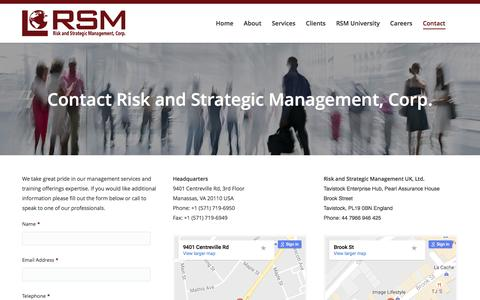 Screenshot of Contact Page rsmconsulting.us - Contact - Risk and Strategic Management, Corp. | RSM Consulting - captured Dec. 3, 2016