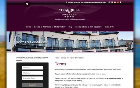 Screenshot of Terms Page strandhilllodgeandsuites.ie - Terms & conditions for Strandhill Lodge Apartments & Suites   Hotels In Strandhill - captured Feb. 26, 2016