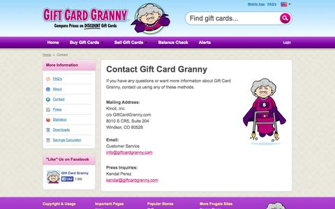 Screenshot of Contact Page giftcardgranny.com - Contact Gift Card Granny - captured Sept. 18, 2014