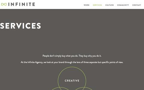 Screenshot of Services Page theinfiniteagency.com - Creative, Interactive Marketing Services | Branding, Social, Digital - captured Oct. 26, 2014