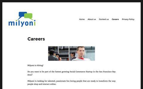 Screenshot of Jobs Page milyoni.com - Careers | - captured Sept. 7, 2016