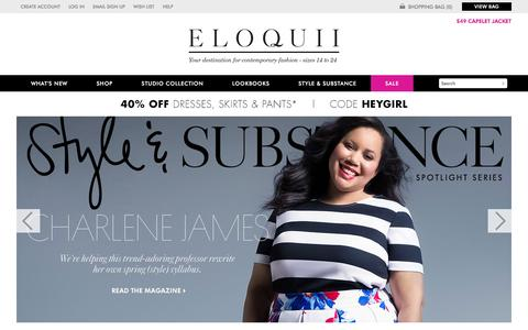 Screenshot of Home Page eloquii.com - Plus Size Clothing, Dresses, Skirts, Suits, Tops, Jeans and Pants for Women   Trendy Plus Size Apparel   ELOQUII - captured Feb. 17, 2016
