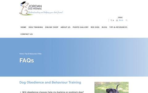Screenshot of FAQ Page jordandogtraining.com.au - Dog Obedience FAQs | Jordan Dog Training - captured Nov. 6, 2018