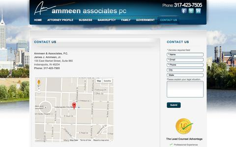 Screenshot of Contact Page Maps & Directions Page ammeen-law.com - Contact Ammeen & Associates, P.C. in Indianapolis, Indiana - captured Oct. 23, 2014