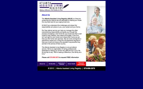 Screenshot of About Page aalr.us - Atlanta Assisted Living Registry - captured Feb. 6, 2016