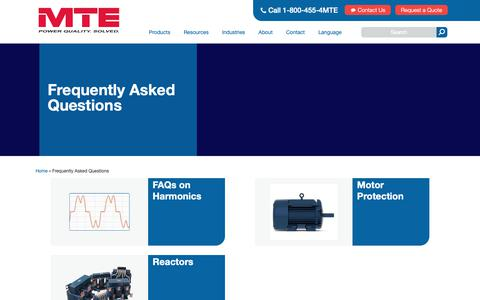 Screenshot of FAQ Page mtecorp.com - Frequently Asked Questions | MTE Corporation - captured Oct. 1, 2018