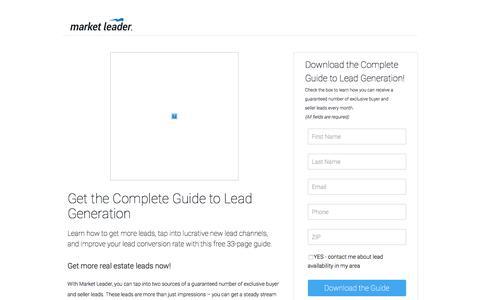 """Screenshot of Landing Page marketleader.com - Download Market Leader's """"Complete Guide to Sellers"""" - captured June 22, 2016"""