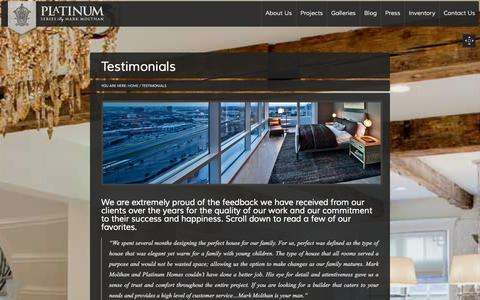 Screenshot of Testimonials Page platinumserieshomes.net - Testimonials - Platinum Series Homes by Mark Molthan - captured Oct. 2, 2014