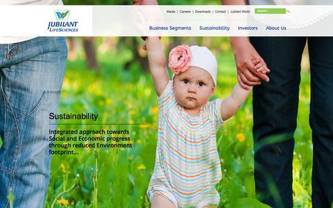 Screenshot of Home Page jubl.com - Jubilant Life Sciences - captured Feb. 11, 2016