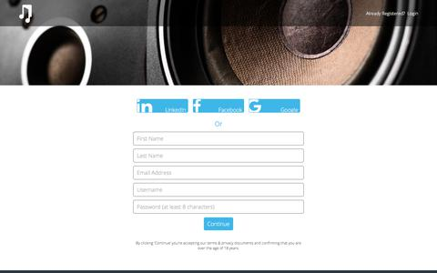 Screenshot of Signup Page musicgateway.net - Sign Up to Music Gateway | Get Started Today - captured June 21, 2017