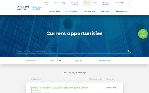 Screenshot of Jobs Page maknowledgeservices.com - Current opportunities | Moody's Analytics Knowledge Services - captured July 23, 2019