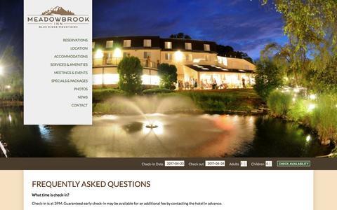Screenshot of FAQ Page meadowbrook-inn.com - Blowing Rock Hotel   Meadowbrook Inn and Suites   Hotel near Blue Ridge - captured April 24, 2017