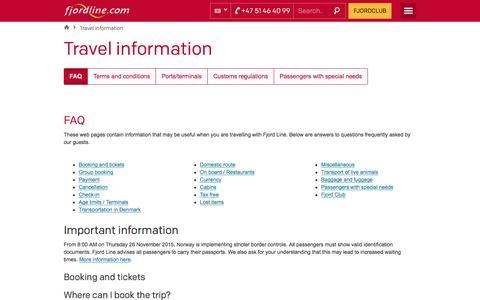 Screenshot of FAQ Page fjordline.com - Travel information - captured Sept. 4, 2016