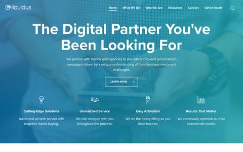 Screenshot of Home Page liquidus.net - Liquidus | A Digital Partner - Liquidus Marketing - captured Aug. 12, 2018