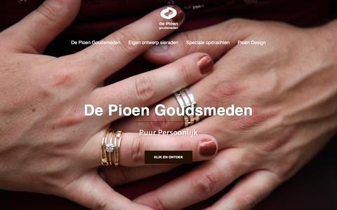 Screenshot of Home Page pioen.nl - de Pioen goudsmeden - De Pioen Goudsmeden - captured Feb. 9, 2016