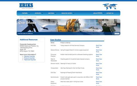 Screenshot of Case Studies Page eriksusa.com - Case Studies | ERIKS Seals and Plastics - captured Oct. 1, 2014