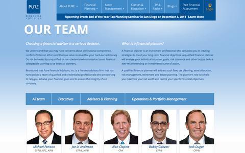 Screenshot of Team Page purefinancial.com - Meet the Team | Pure Financial Advisors, Inc. - captured Nov. 2, 2014