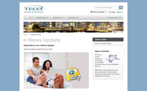 Screenshot of Signup Page tampaelectric.com - e-News Update - Tampa Electric - captured Oct. 29, 2014