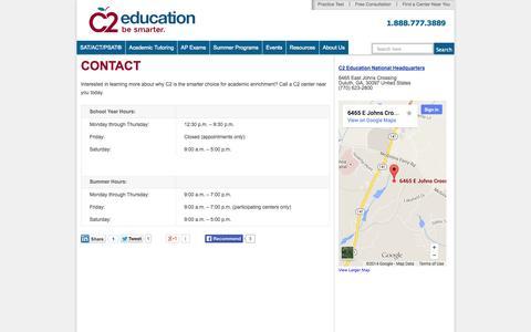 Screenshot of Contact Page c2educate.com - Contact C2 - captured Sept. 24, 2014
