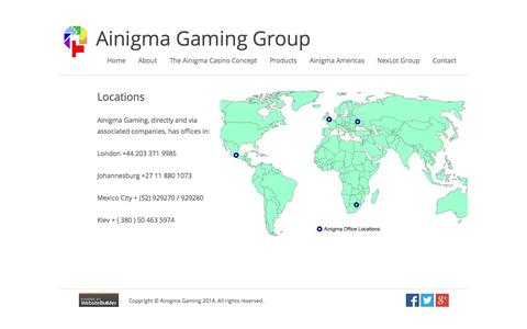 Screenshot of Locations Page ainigmagaming.com - Locations - captured Oct. 4, 2014