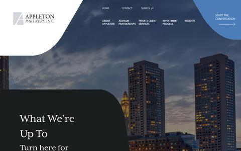 Screenshot of Press Page appletonpartners.com - News | Appleton Partners, Inc. - captured Oct. 3, 2018