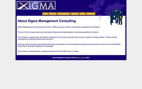 Screenshot of About Page xigmaconsulting.com - About | Xigma Management Consulting - captured Oct. 27, 2014
