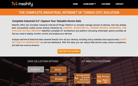 Screenshot of Signup Page meshify.com - Live Demo: Complete IoT & Your Valuable Device Data - captured Dec. 4, 2015