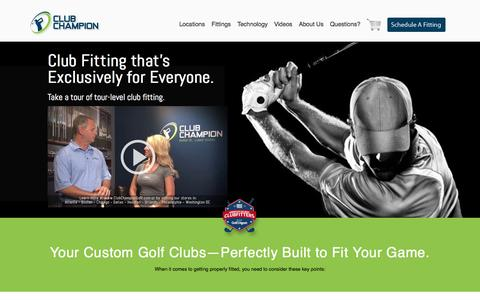 Screenshot of Home Page clubchampiongolf.com - Custom Golf Clubs & Golf Club Fitting | Club Champion Golf - Club Champion Golf - captured Oct. 2, 2014