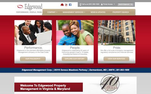 Screenshot of Home Page edgewoodmgmt.com - Property Management in Virginia | Edgewood Property Management DC - captured Oct. 2, 2014