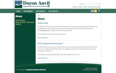 Screenshot of Press Page doyonemerald.com - News   Doyon Anvil, LLC - captured Sept. 30, 2014
