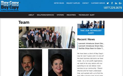 Screenshot of Team Page baycopy.com - Team | Bay Copy - captured Oct. 10, 2017
