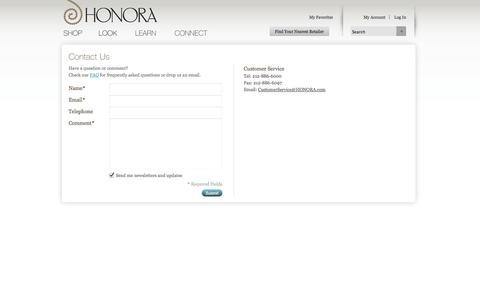 Screenshot of Contact Page honora.com - Magento Commerce - captured Oct. 1, 2014