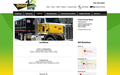 Screenshot of Locations Page unitedscrap.com - United Scrap Metal Locations | United Scrap - captured Sept. 20, 2018