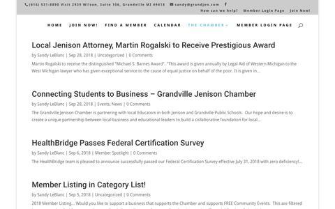 Screenshot of Press Page grandjen.com - News & Awards - Grandville/Jenison Chamber of Commerce - captured Sept. 30, 2018