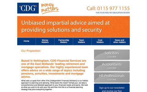 Screenshot of Home Page cdgfs.co.uk - Home - CDG Financial ServicesCDG Financial Services - captured Oct. 1, 2014