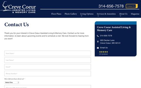 Screenshot of Contact Page spectrumretirement.com - Contact Creve Coeur Assisted Living & Memory Care - captured Jan. 31, 2018