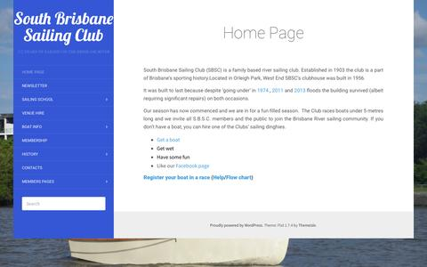 Screenshot of Home Page sbsc.org.au - South Brisbane Sailing Club - captured June 16, 2016