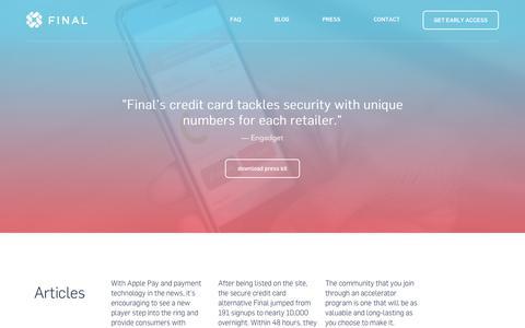 Screenshot of Press Page getfinal.com - Final / Take back control of your credit card. - captured Dec. 16, 2014