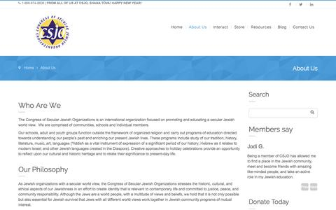 Screenshot of About Page csjo.org - About Us – Congress of Secular Jewish Organizations - captured Jan. 31, 2016