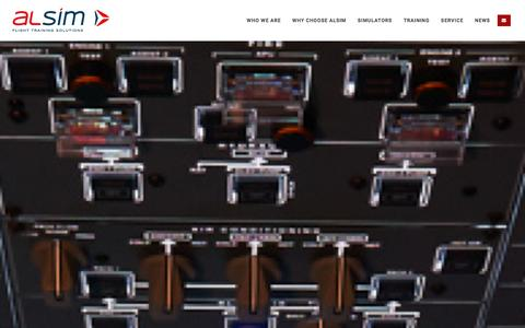 Screenshot of Home Page alsim.com - ALSIM | FNPT II Flight Simulators and Training Solutions - captured Dec. 22, 2015