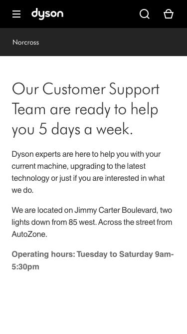 Screenshot of Support Page  dyson.com - Norcross GA Service Center | Dyson